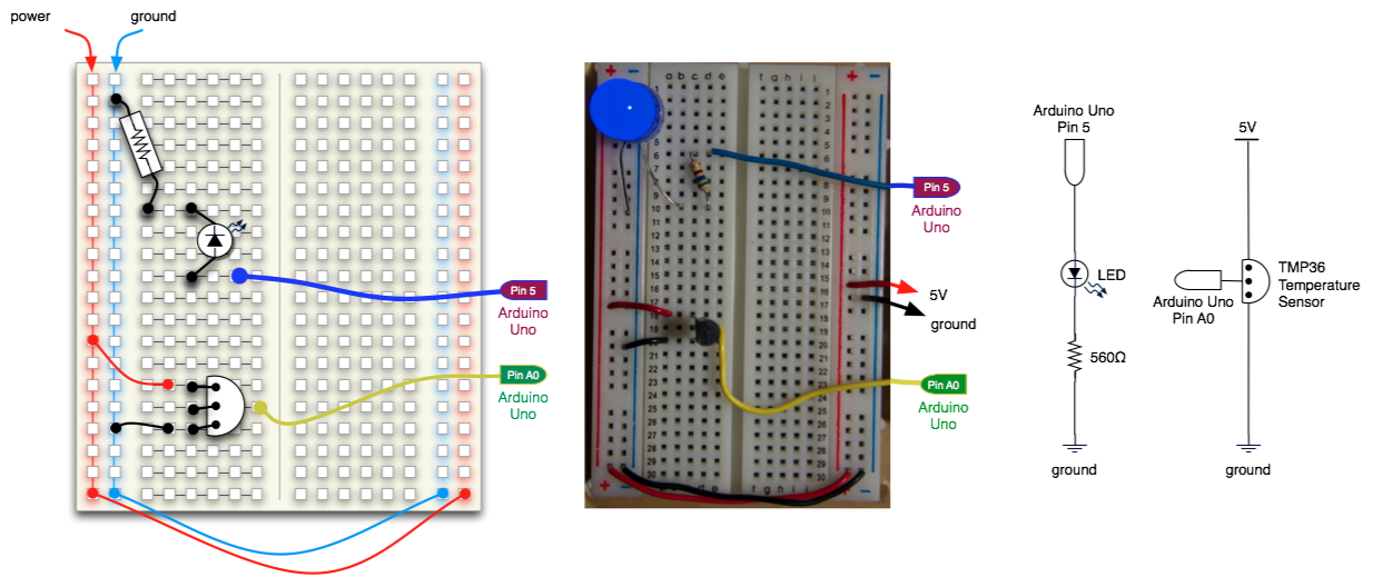 Temperature sensor and LED with Arduino circuit