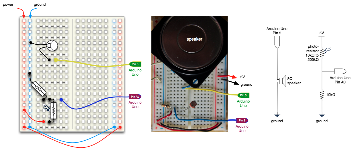 Photoresistor and speaker circuit with Arduino